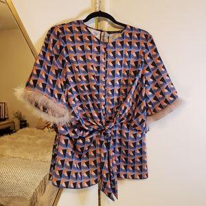 Zara Geo Print Silk Top with Fuzzy Sleeves